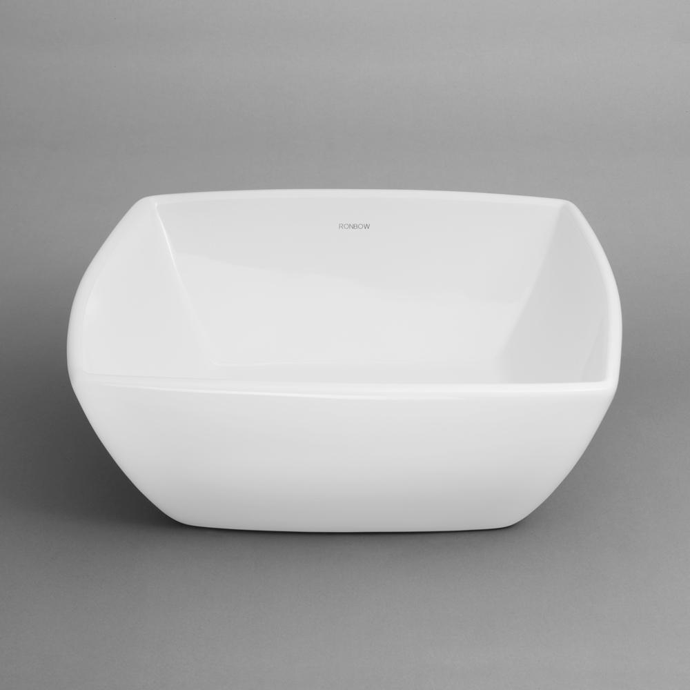 "16"" Abyss Arched Square Ceramic Vessel Bathroom Sink In White"