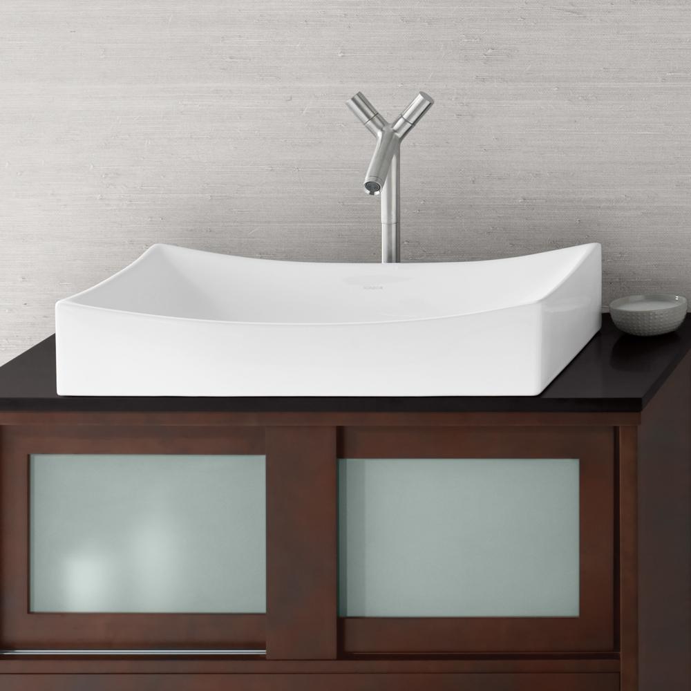 """25"""" Status Rectangular Ceramic Vessel Bathroom Sink In White"""
