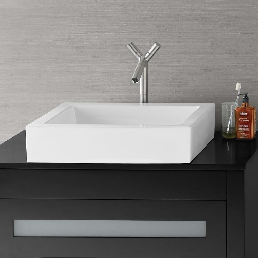 "22"" Format Rectangular Ceramic Vessel Bathroom Sink In White"
