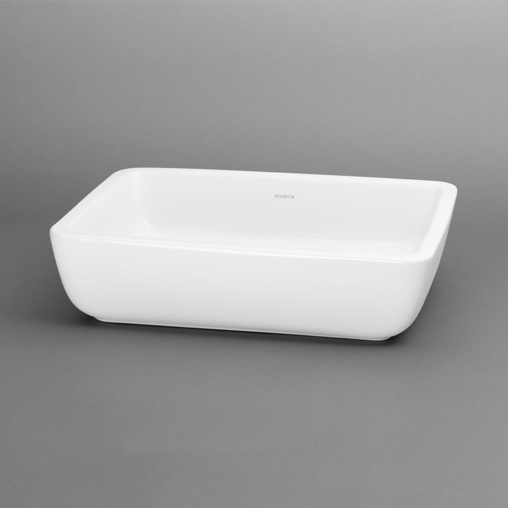"18"" Mod Rectangular Ceramic Vessel Bathroom Sink In White"