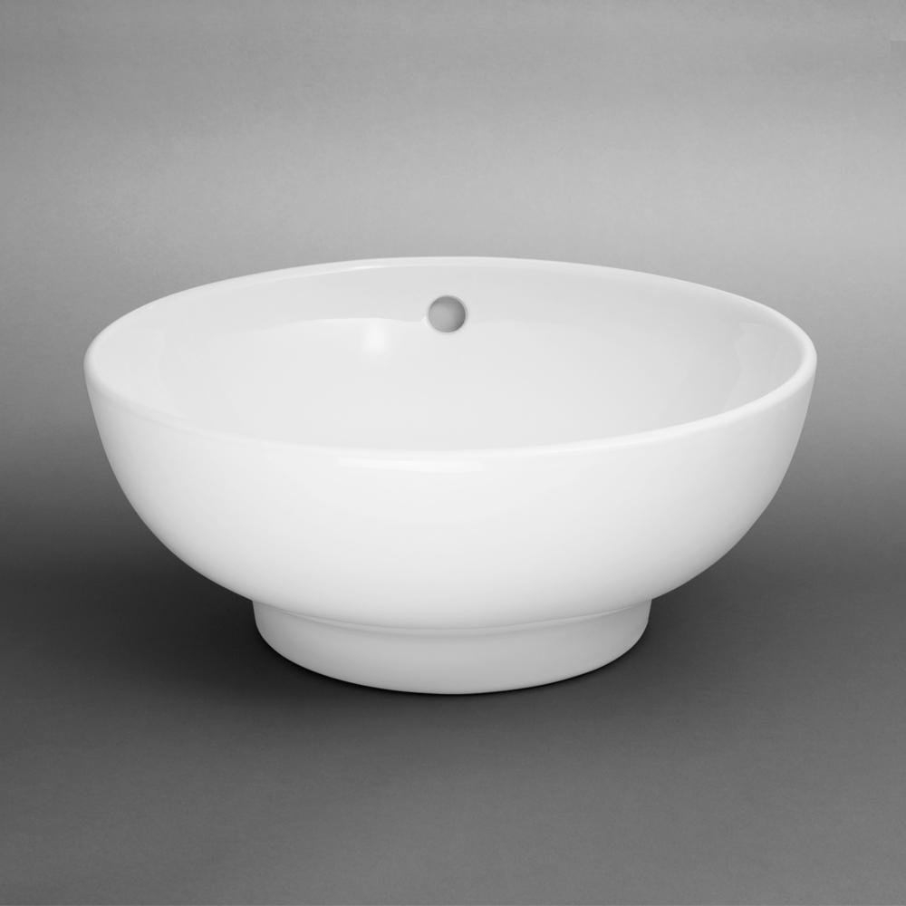 "16"" Rondure Round Ceramic Vessel Bathroom Sink In White"