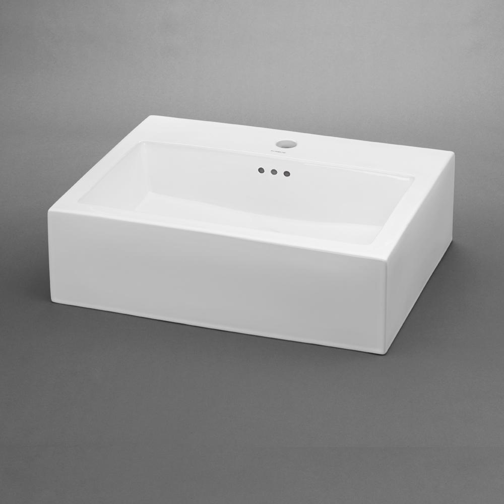 "22"" Groove Rectangular Ceramic Vessel Bathroom Sink"
