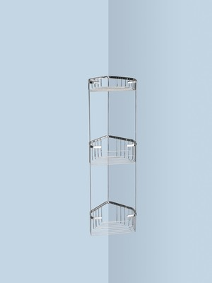 Wire corner shelf for shower_with 3 baskets 17.2x17.2x61.5cm