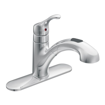 Renzo Chrome One-Handle Low Arc Pullout Kitchen Faucet