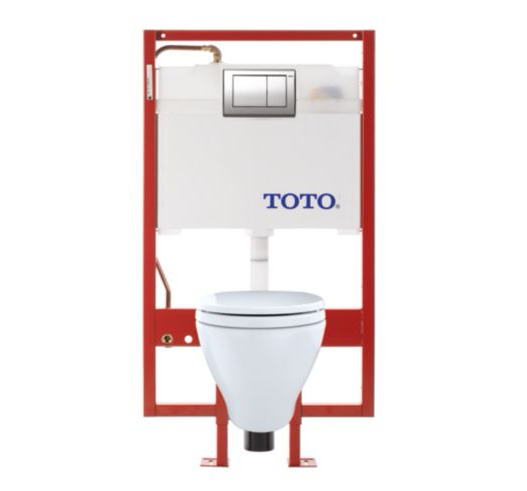 Aquia� Wall-Hung Toilet & Duofit In-Wall Tank System 1.6 Gpf & 0.9 Gpf Elongated Bowl - Copper Supply