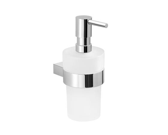 CANARIE Soap dispenser with chromed metal dispenser and mat glass container 9x10x18.5cm
