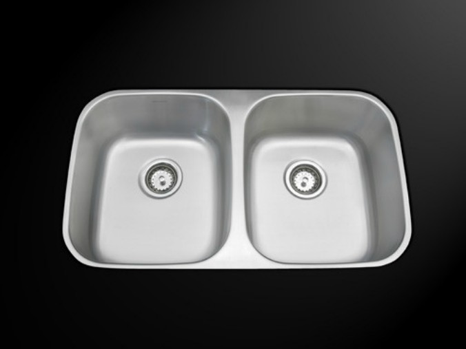 As114 32_ X 18_ X 8_/8_ 18G Double Bowl Undermount Economy Stainless Steel Kitchen Sink
