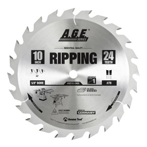 Carbide Tipped Ripping 10 Inch Dia X 24T Atbnull 20 Deg'' 5/8 Bore Circular Saw Blade