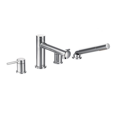 Align Chrome Two-Handle Diverter Roman Tub Faucet Includes Hand Shower