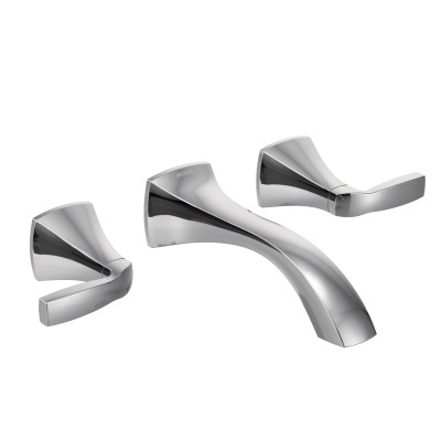 Voss Chrome Two-Handle Wall Mount Bathroom Faucet